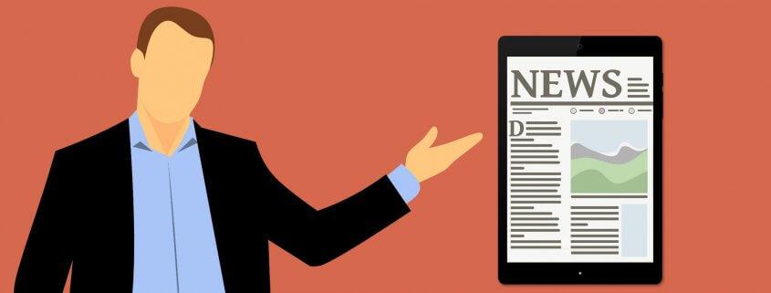 Karikatur von Nachrichten.